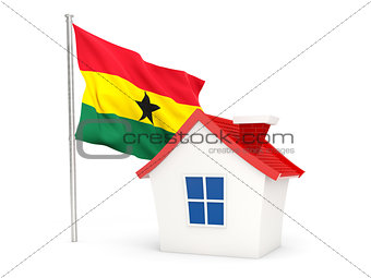 House with flag of ghana