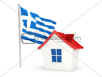 House with flag of greece