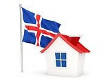 House with flag of iceland