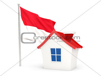 House with flag of indonesia