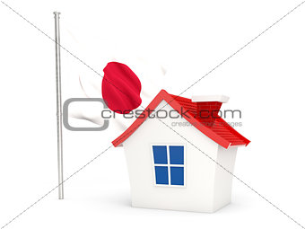 House with flag of japan