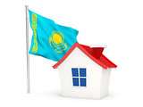 House with flag of kazakhstan