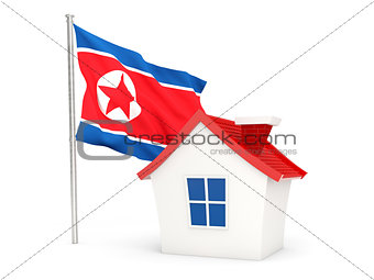 House with flag of korea north