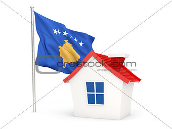 House with flag of kosovo