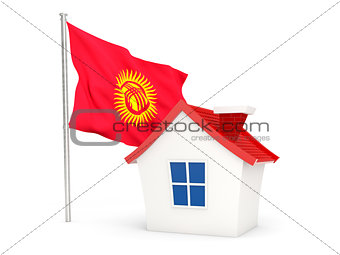 House with flag of kyrgyzstan