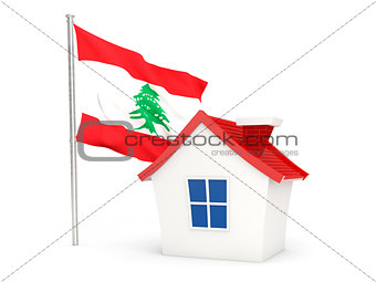 House with flag of lebanon
