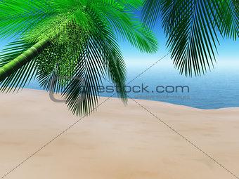 3D beach scene with palm trees