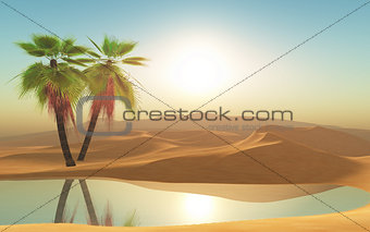 3d desert and palm trees