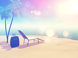 Beach scene with suitcase and sun lounger with retro effect