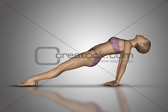 3D female figure in yoga pose