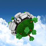 3D grassy globe with trucks and trees