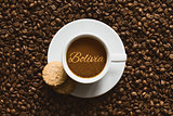Still life - coffee with text Bolivia