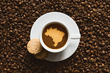 Still life - coffee with map of Brazil