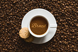 Still life - coffee with text Brazil