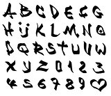 graffiti marker font and number alphabet over white