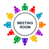 Colorful meeting room icon