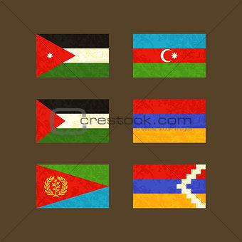 Flags of Jordan, Azerbaijan, Palestine, Armenia, Eritrea and Nagorno-Karabakh