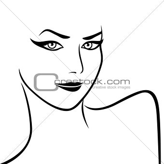 Abstract female face and shoulders