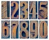ten numbers in letterpress wood type