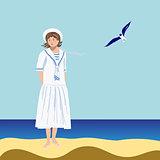 Sailor girl on the beach