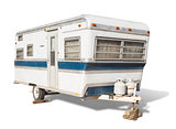 Classic Old Camper Trailer on White