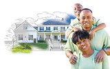 African American Family Over House Drawing and Photo on White