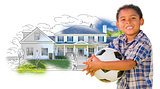 Mixed Race Boy Holding Ball Over House Drawing and Photo