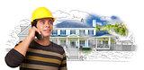 Hispanic Construction Worker on Phone Over House Drawing and Pho