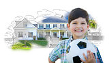 Boy Holding Soccer Ball In Front of House Sketch Photo