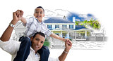 Hispanic Father and Son Over House Drawing and Photo