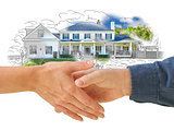Shaking Hands in Front of New House Drawing Photo Combination