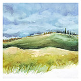 Field and forest. Watercolor background