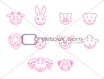 Animals vector set pink outline simple style