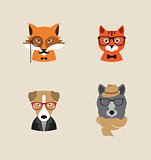 Hipster Animals set of vector icons.