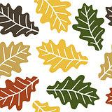 Seamless oak leaves pattern