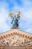 statue at opera theater in Lviv
