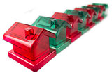 row of plastic houses
