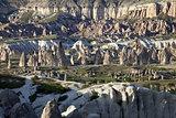View of Cappadocia valley at sun sunset