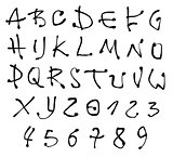 ink font and number alphabet over white