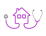 Stethoscope in shape of house in purple design
