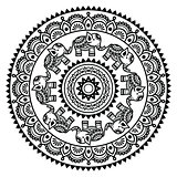 Round Mehndi, Indian Henna tattoo pattern