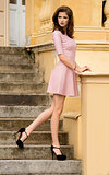 fashion shot of girl in pink