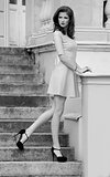 monochrome fashion shot of girl in pink