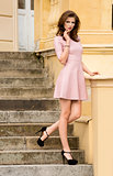fashion pink girl outside