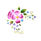 Watercolor floral decorative element