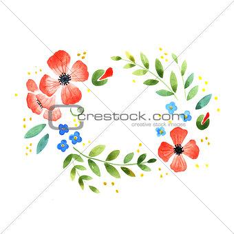 Watercolor floral decorative element