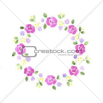 Watercolor decorative floral element