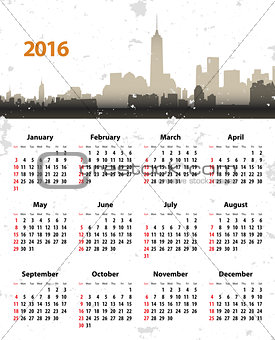 2016 year NY grunge cityscape