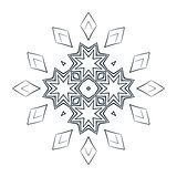 Vector monochrome flower mandala on a contrasting background. Big snowflake