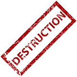 Destruction rubber stamp